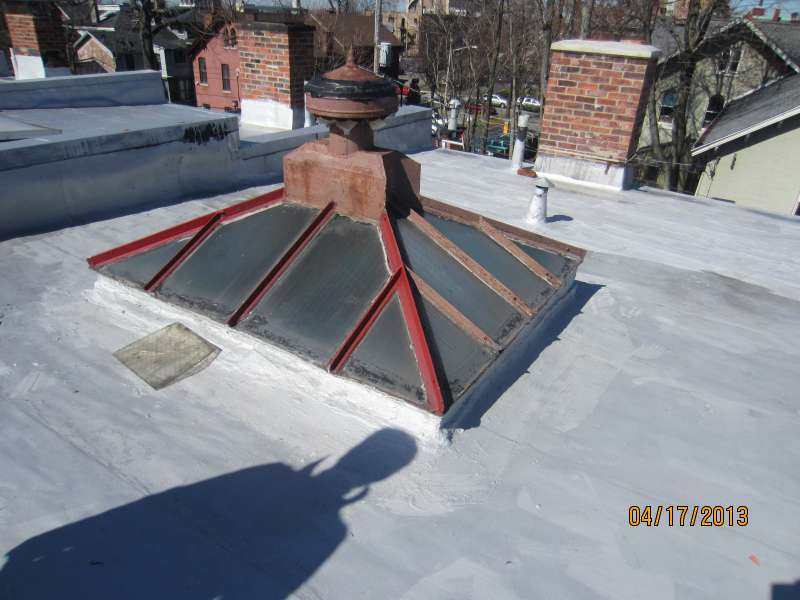 old metal skylights with wire glass