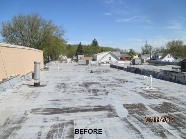 Commercial Flat Roof Before Silicone Coating (Modified Roof)