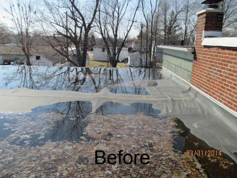 sagged flat roof ponding water
