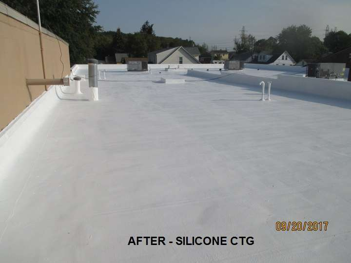 Commercial Flat Roof After Silicone Coating